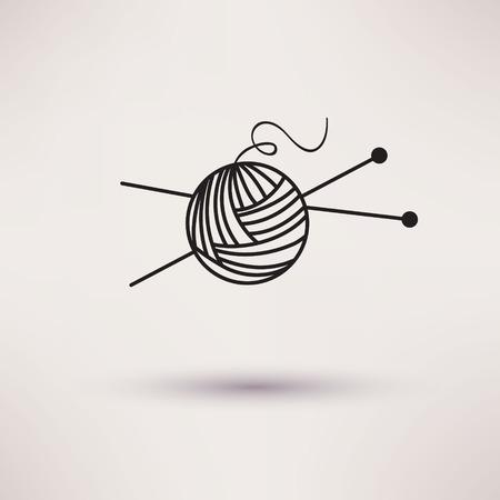 needles: Woolen thread and needles, flat design vector