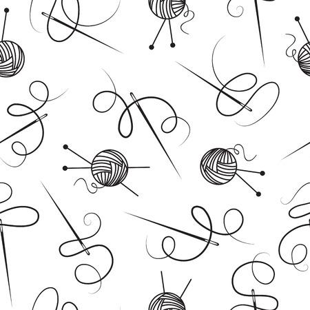 ウールのシームレスな背景の針糸球