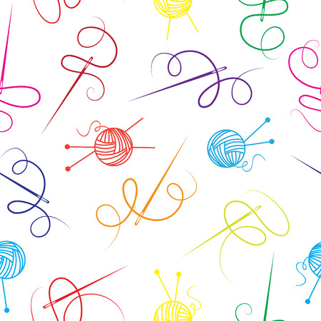 sewing pattern: Needle thread ball of wool seamless background Illustration