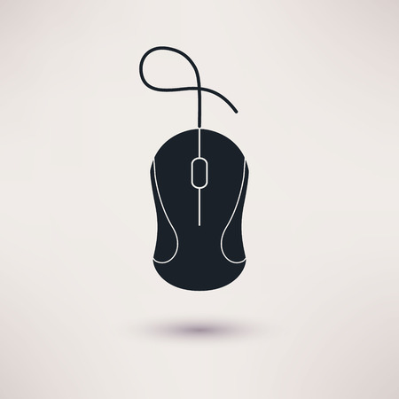 Computer mouse icon in a flat style, vector