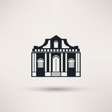 art museum: Museum building. Art icon flat isolated vector Illustration