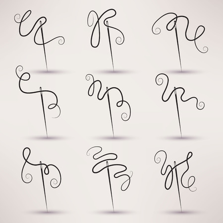 needle and thread icon vector set in flat style