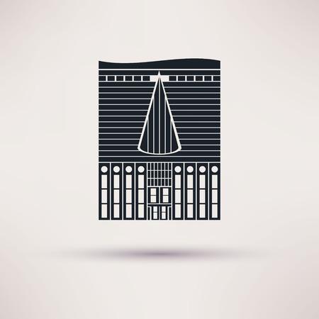 inn: Inn building. Icon in the flat style. Vector Illustration