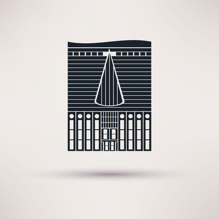 Inn building. Icon in the flat style. Vector Illustration
