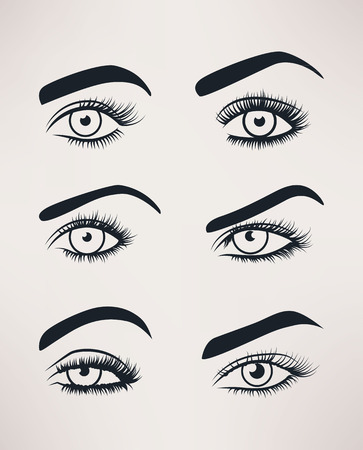 Silhouette of female eyes open, different shapes