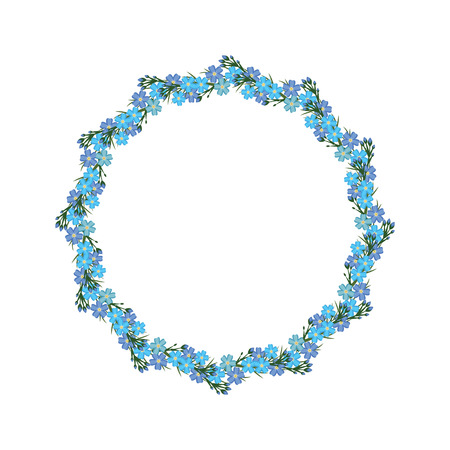 forget: Wreath with blue forget-me-not. Vector illustration frame. Illustration