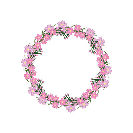 flowerbed: Wreath with pink forget-me-not. Vector illustration frame.