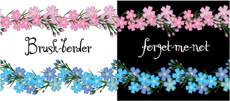 flowerbed: Brush-border of flowers forget-me. decorative elements vector