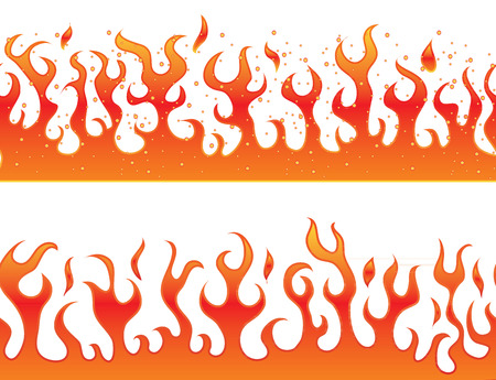 Flames on a white background - decorative continuous curb. Vector.