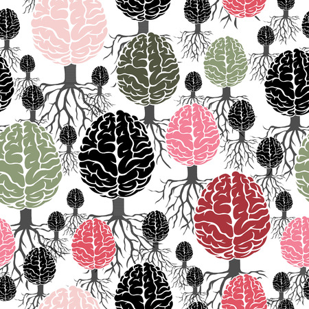 Brain with roots vector seamless abstract background Çizim