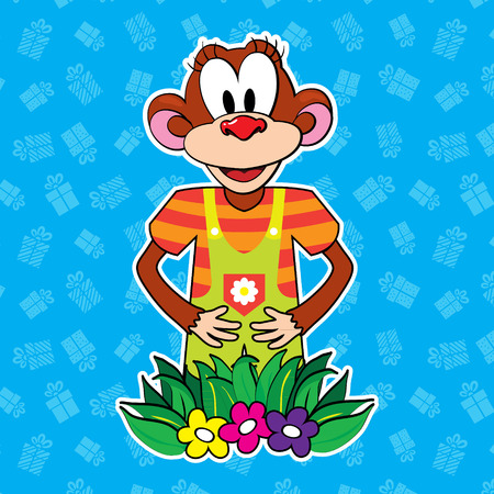 chimpanzees: Monkey in dress on bright background. vector Illustration