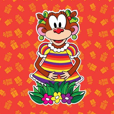 Monkey in dress on bright background. vector Illustration