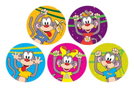 Set of funny monkeys. Symbol of the year 2016
