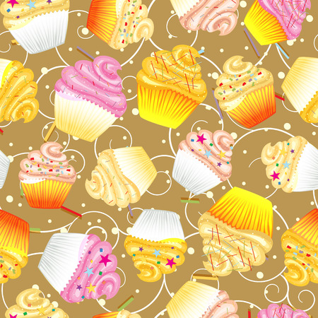 sugary: Cupcakes with cream Seamless vector background, kitchen backgrounds. Illustration