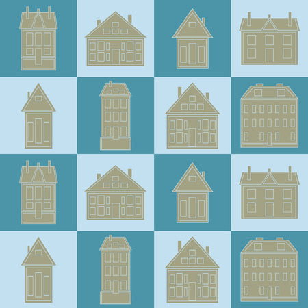 construction paper art: Houses Vector seamless pattern vintage. template for textiles