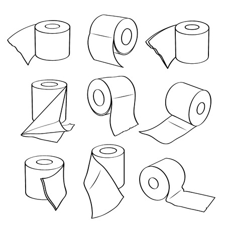 paper rolls: Simple set icons of toilet paper rolls