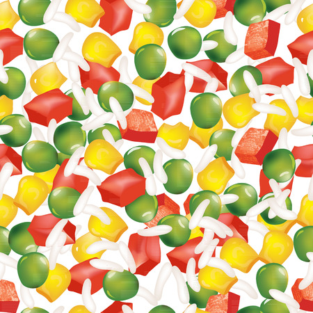 green peas: Vegetable mix of green peas, peppers, corn, and rice Seamless vector background.