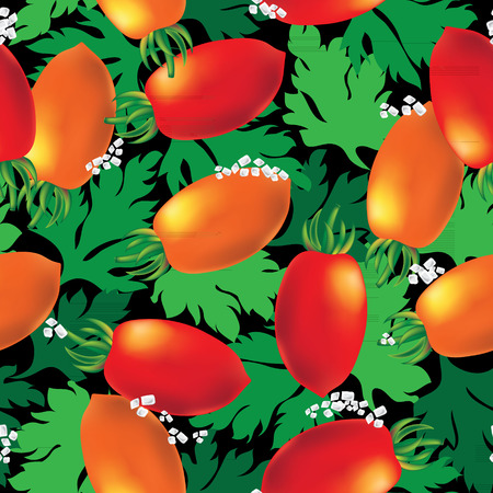 elongated: Cherry tomato seamless vector background. Template for your design.
