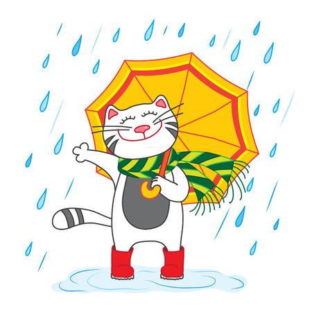 Cat with umbrella under the rain. Vector illustration Vector
