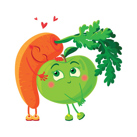 Carrots in love with the apple. Vegetables hug Illustration