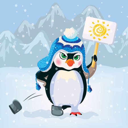 requirement: Unhappy penguin holding a sign. Vector illustration