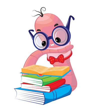 earthworm: Funny bookworm reading, stack of books. Vector illustration