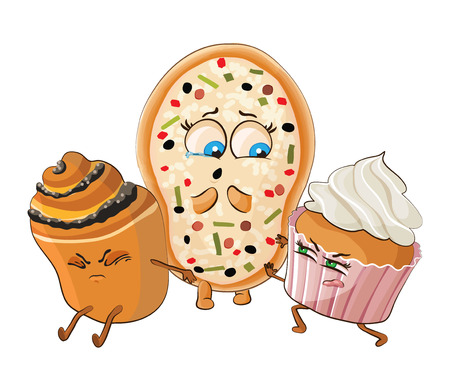 offend: Muffin and Cake offend pizza. Vector illustration Illustration