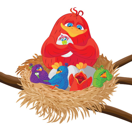 chicks: Bird with chicks in the nest. Vector illustration