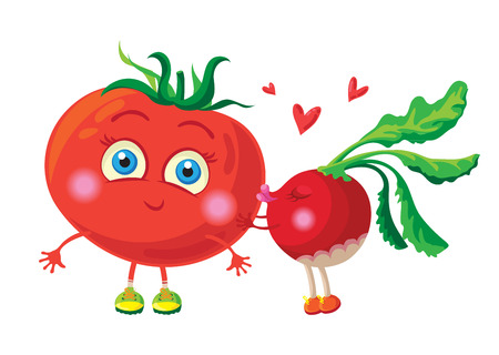 Radish in love with tomato. Vector characters Vector
