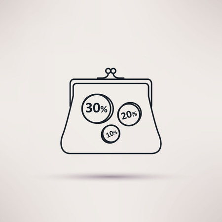 vanity bag: Icon purse, isolated vector object from the background Illustration