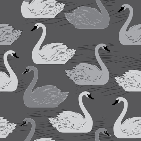 swans: Swans. Seamless vector pattern. Template for design
