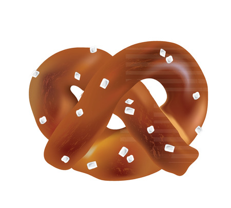 faced: Soft Bavarian pretzels. Vector objects on a white background Illustration