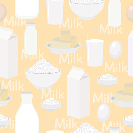 egg cups: Dairy products, seamless vector background. Kitchen pattern Illustration