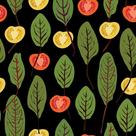 chard: Chard and tomatoes, vegetable seamless vector pattern