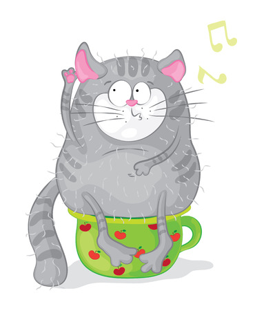 chamber: Cat on a chamber-pot. Vector characters. Cartoon