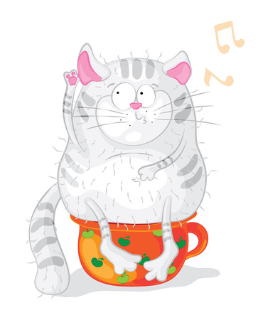 chamber pot: Cat on a chamber-pot. Vector characters. Cartoon
