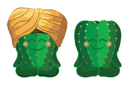 types of cactus: Cactus sitting in the lotus position. Vector characters