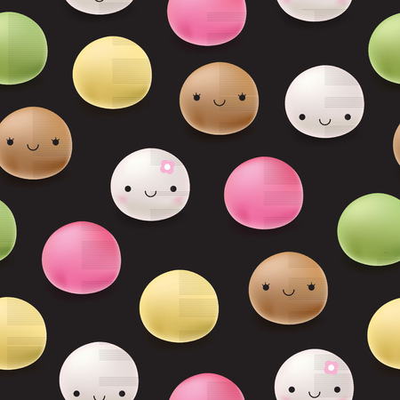 japanese dessert: Seamless pattern Japanese mochi rice dessert. Vector sweets.