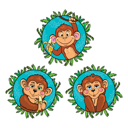 Funny monkey with a banana in his hand. Vector set. Illustration
