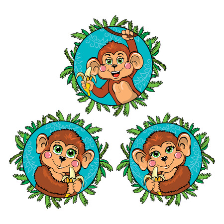 chimpanzees: Funny monkey with a banana in his hand. Vector set. Illustration