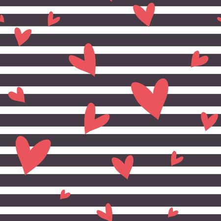 Seamless vector patrón de rayas abstracto con corazones