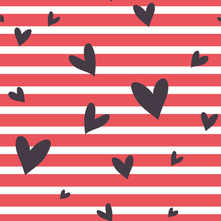 Seamless vector abstract striped pattern with hearts