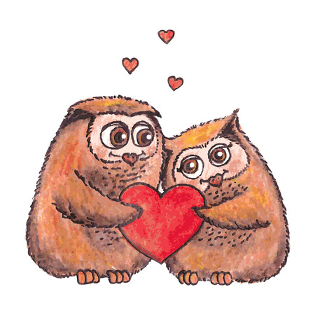 owls in love with heart vector watercolor