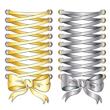 lacing: Corset lacing, gold and silver.  Illustration