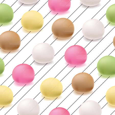Seamless pattern Japanese mochi rice dessert. Vector sweets.