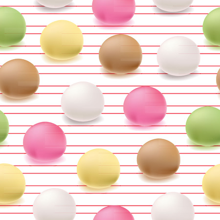 manually: Seamless pattern Japanese mochi rice dessert. Vector sweets.