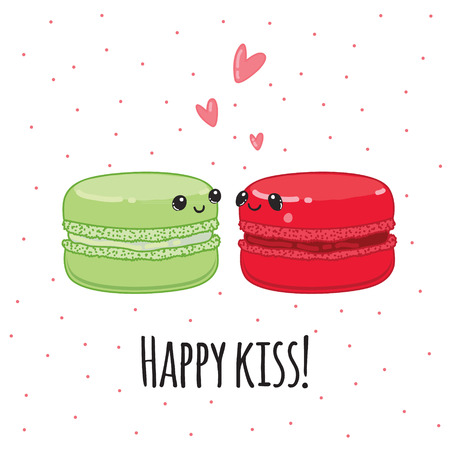 kiss biscuits: Postcard Happy kiss. Lovers macaroon Vector illustration.