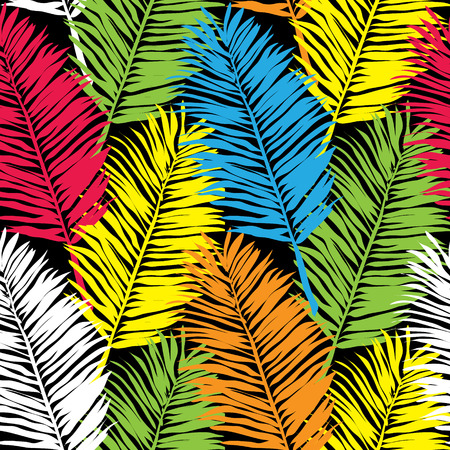 fronds: Palm leaves, abstract vector seamless pattern background Illustration