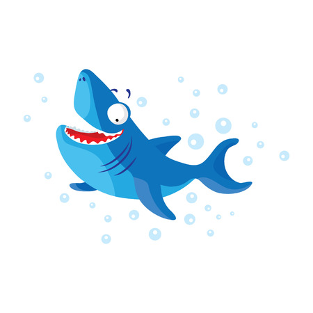 baby cutlery: Cute shark isolated. T-Shirt design for children Illustration