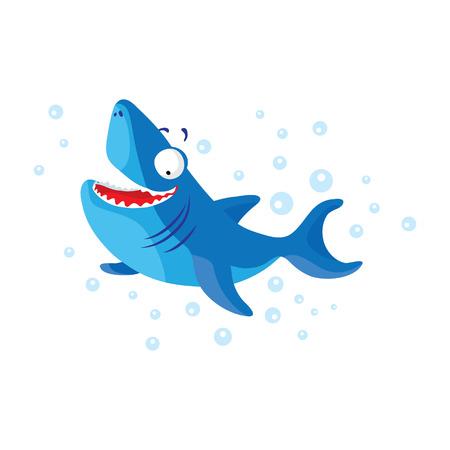 Cute shark isolated. T-Shirt design for children Illustration